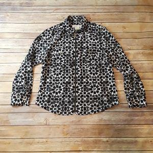 Michael Kors Zip Up Long Sleeve Shirt Blouse